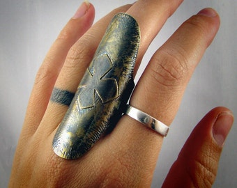 Warriors Shield - Armor Ring - Brass Cross Knuckle Ring - MADE TO ORDER