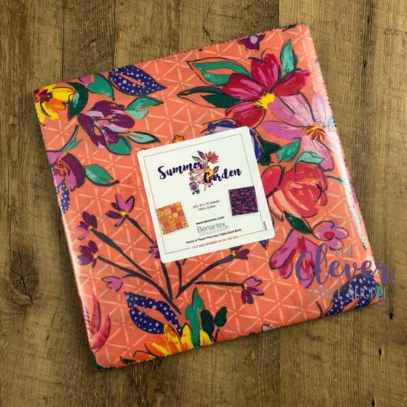 Layer Cake, Benartex, Summer Garden, Floral, Geometric, Bright Colored Fabric, Yellow, Blue, Purple, Modern Fabric, Precut Fabric