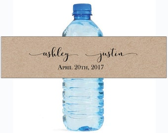 Kraft Elegance fancy Wedding Water Bottle Labels Great for Engagement Bridal Shower Anniversary Party self stick