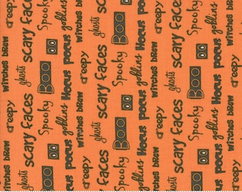 Hocus Pocus - Halloween Words Orange by Sandy Gervais for Moda, 1/2 yard, 17931 22