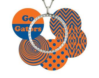 UF University of Florida Gators Jewelry Window Floating Locket Pendant & Chain Necklace Stainless w/ 5 designer interchangeable Charm Discs