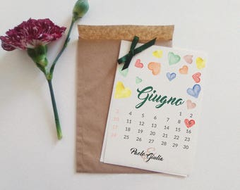 Wedding participations with calendar. Customizable investments with Kraft envelope.