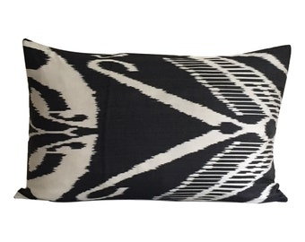 Black Ikat Cushion Cover, 40 x 60 cm, Decorative Pillow