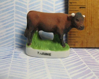 Tiny TAURINE COW Calf Bull Cattle - Hand Painted  -  French Feve Feves Mini Doll House Miniature FF70