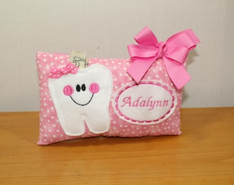 Girls Tooth Fairy Pillow - Personalized Tooth Fairy PIllow - Pink Tooth Fairy Pillow - Pink Polka Dot Tooth Fairy Pillow - Polka Dot Pillow