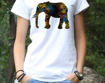 Elephant Tee - Art T-Shirt - Fashion Tee - White shirt - Printed shirt - Women's T-shirt