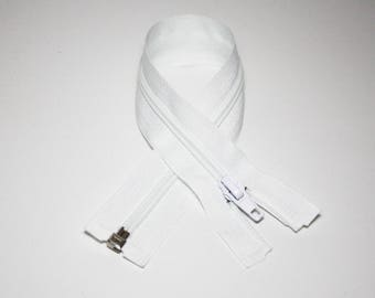 Zip closure, 35 cm, detachable, white