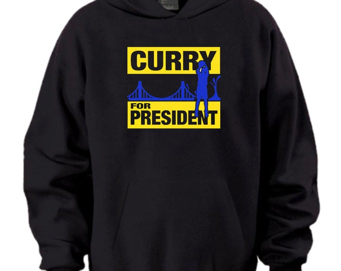 Steph Curry For President Hoodie Black Yellow Warriors MVP The City MVP Playoffs