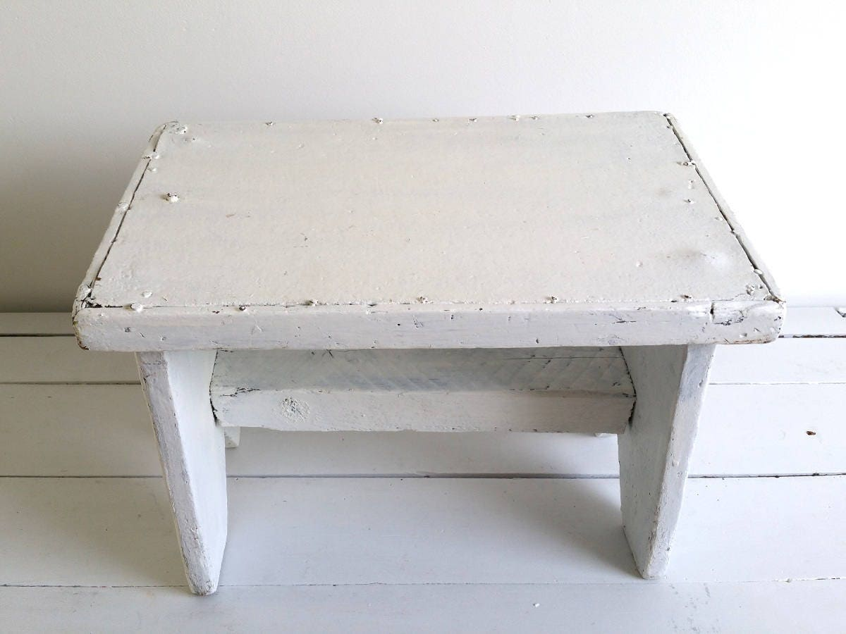 Old Farmhouse white step stool * wooden step stool * rustic kitchen ...