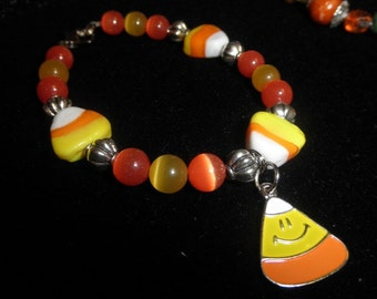 Candy Corn Cats Eye Fall Bracelet