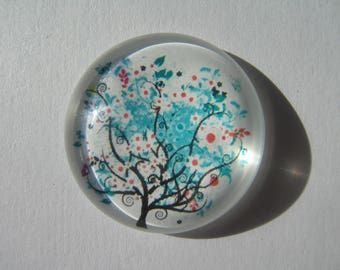large cabochon 30 mm round with its turquoise blue tree image