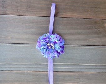 Lavender Flower Rose Jewel Headband Flower girl Flowergirl Bridesmaid accessory Newborn headband Baby Girl  Photo Prop
