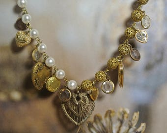 Vintage Heart Assemblage Charm Necklace, Amazing Filigree Beads, Lockets, Pearl Rosary Beads,Found Treasures,One of a Kind By UPcycled Works