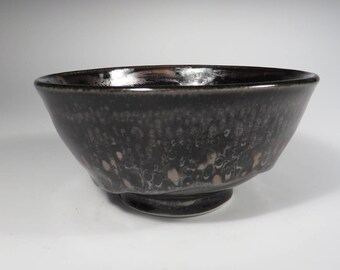 Black and Silver Iridescent Oil Spot Bowl (599)