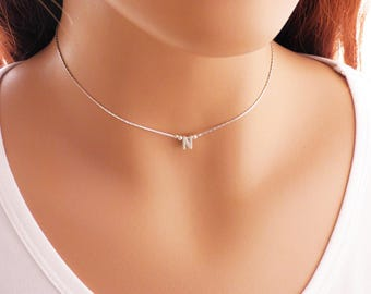 Initial Choker Necklace, Dainty Choker, Sterling Silver, Personalized Initial Necklace, Layered Necklace, Letter Necklace