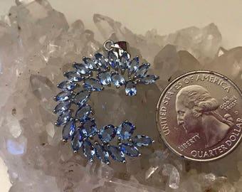 Blue Topaz Moon Pendant Necklace