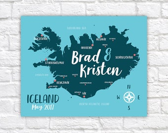 Iceland Travel Map, Personalized Gift, Iceland Honeymoon, Golden Circle, Reykjavik, Engaged in Iceland, Arctic Circle, Blue Lagoon | WF567
