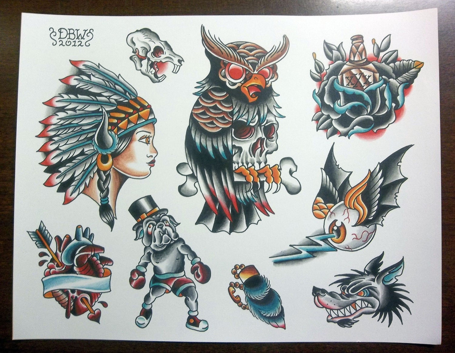 traditional tattoo flash sheet. Black Bedroom Furniture Sets. Home Design Ideas