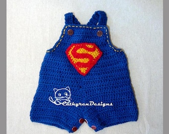 Baby Superman Jeans Overall, Buttons at Crotch for Easy Change - INSTANT DOWNLOAD Crochet Pattern
