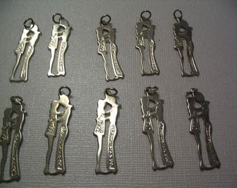 10 Vintage Boy and Girl Charms Jewelry and Craft Supplies