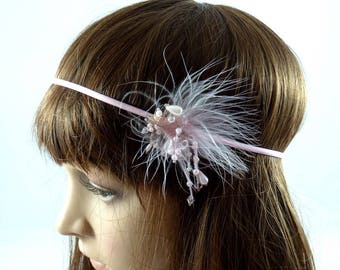 Headband feathers and beads - pink color.