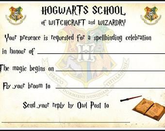 Harry Potter Hogwarts Party Invitations x 10 c/w Envelopes