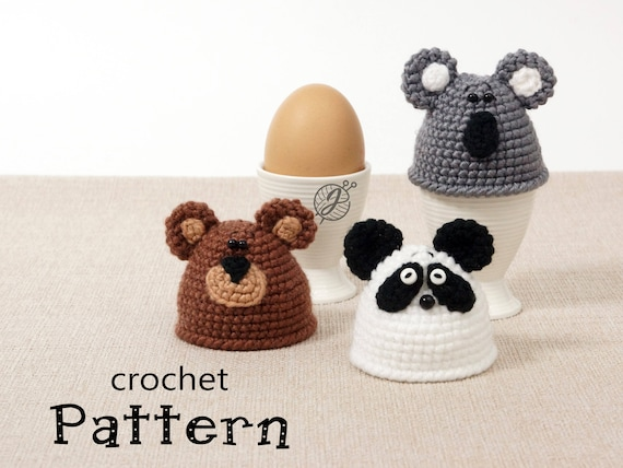 Panda Koala Bear Egg Warmer Crochet Pattern Egg Cozy Diy