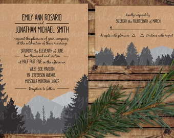 Rustic Outdoor Silhouette Printable Digital Wedding Invitations (Mountains, Trees, Forest, Woods)