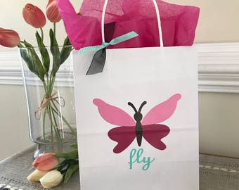 Butterfly Party, Garden Party, 1st Birthday, Birthday, Baby Shower, Wedding, Small & Medium Gift Bag, Party Favor, Sets of 4, 8, 10, 12, 15,