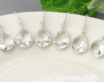 Crystal Bridesmaid Earrings SET OF 4 Clear Crystal Drop Earrings Silver Bridesmaid Jewelry Set Wedding Jewelry Set Bridesmaid Gifts