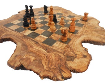 Unique Olive Wood Rustic Chess Board, Custom Monogrammed Wooden Chess Set Game 20 Inch, Rustic Personalized Dad gift