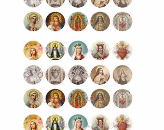 Digital Collage Sheet of Vintage Religious Images and Prayer Cards One Inch Circles -1x1inch - bottle cap - INSTANT DOWNLOAD