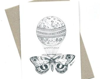 Moonballoon illustration / greeting card / A6 size