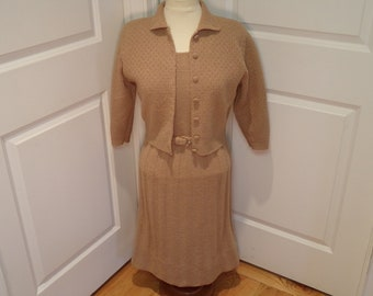 ON SALE  Vintage 1950's  Knit Dress w/Sweater & Original Belt  Large