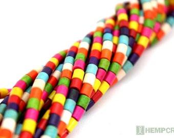 Stone Tube Beads, 4mm Colorful Stone Howlite Column Beads, Stone Beads
