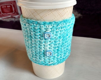 SALE/Crochet Cup Cozy/Coffee Sleeve with Buttons (Light Blue with White Speckle)