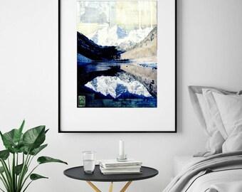 "Colorado Print, Aspen, CO, Mixed Media Print, Mountain Landscape Print, Colorado Gift, Mountain Art, 8""x10"" or 11""x14"" Print, ""Maroon Bells"""