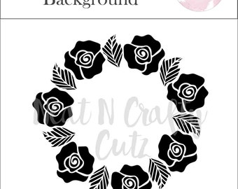 Floral Rose Background cut file.For scrapbooking and paper crafting
