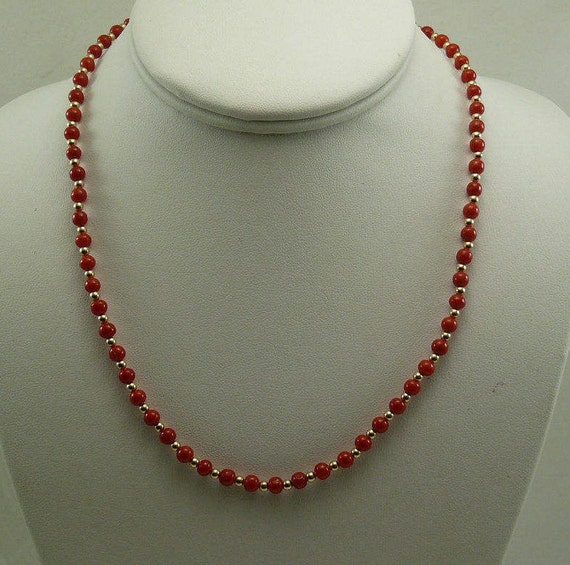 Italian 4.4 mm - 4.7 mm Coral Necklace With 14K Yellow 3 mm Gold Bead Clasp 18""