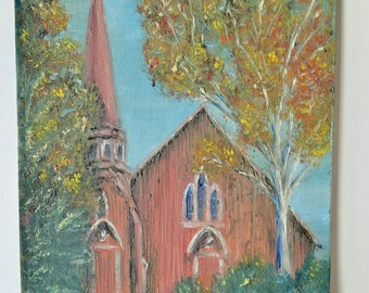 "Vintage Oil Painting Church with Steeple, Unsigned, 9"" x 11"""
