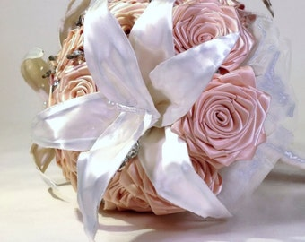 Handmade White Satin Lily And Blush Rose Bridal Wedding Bouquet Accented With Crystals