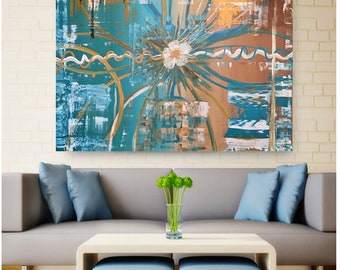 Gold and teal  36x48* Large abstract painting