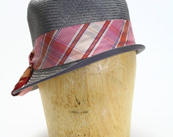 Gray Straw Fedora Spring/Summer Hat with Asymmetrical Brim and Pink Raw Silk Ribbon- Women's Hats/Millinery