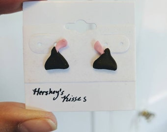Hershey's Kisses Earrings, chocolate with pink ribbons, hypoallergenic posts, handmade clay, brown pink