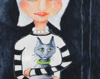 Cat Lady with kitten Print on wood 3.5 X 5 reproduction Green Collar, mini print, pets, gift, love, Deb Harvey,