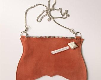 Leather wallet orange nubuck pouch shoulder bag shoulder bag
