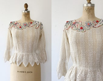 vintage knit blouse / floral embroidey blouse / Empyrean blouse