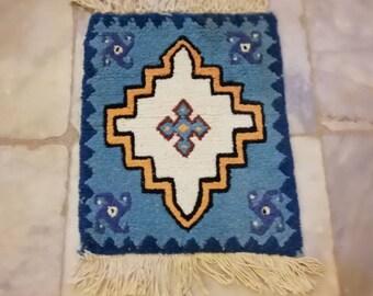 Small rug, small blue Moroccan rug, chair rug, rug wall art