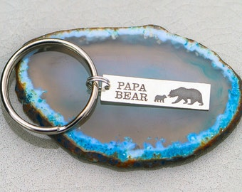 Papa Bear Gift Dad Keychain • Grizzly Bear Poppa Father's Day Gift Daddy Keychain • New Dad Gift Birthday• Grizzly Bear Cub Baby Bear Little