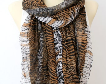 Zebra Print Scarf Brown Scarf Women Long Boho Scarf Animal Print Scarf for Women Leopard Scarf Spring Scarves Gifts for Mom Gift Mothers Day